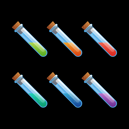 Set of different color flask, test-tube, bottles game icons. Cartoon vector illustration to create mobile or web games, graphic design. Asset for app user interface isolated on black background. Illusztráció