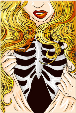 Conceptual drawing of a blonde woman opening up. Ribs cage behind the skin scientific anatomy vector. Illustration of a girl and her bones perfect for phone background.  イラスト・ベクター素材