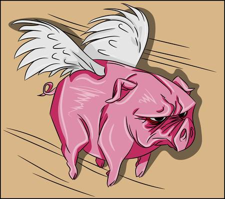 Angry flying pig with wings and pink skin illustration. Funny mascot of a farm animal drawing. Funny mammal clipart, silly angel vector. Illustration