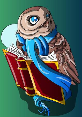 Night owl with a book illustration. Bird with a scarf under the moonlight vector. Cartoon, smart animal reading art. Folklore, stories, success.