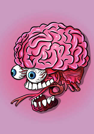 Brain, jaw and eyes neurology science biology vector illustration
