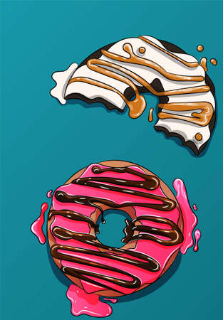 Two donuts vector, cute cookies, pink and white cakes with caramel and chocolate. Delicious, sweet illustration, sugar, frosting and syrup drawing. Glaze melting on the table, tasty dessert Illustration