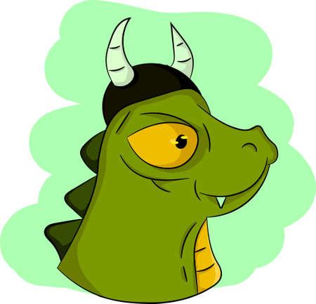 Green Dinosaur with Viking hat Illustration