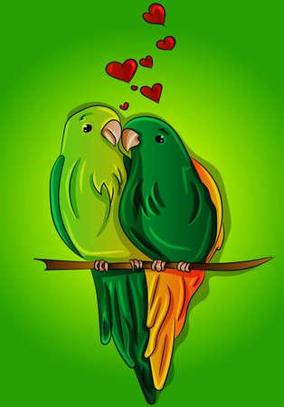 Cute parrots falling in love on a branch - green parakeets, amorites vector, cartoon, drawing, illustration. Tropical, exotic animals, wild birds, hawaiian brasilian Stock Illustratie