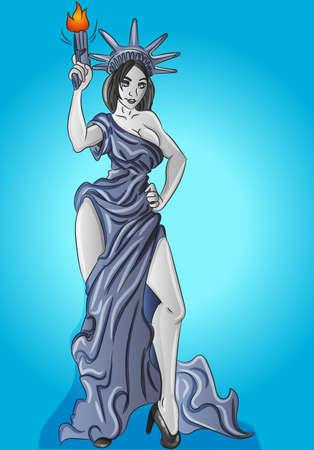 Sexy statue of liberty, powerful woman with a gun, beauty, modern gray dress  イラスト・ベクター素材
