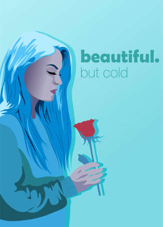 Ice cold woman with a red rose in her hands. Blue winter illustration poster concept about beauty and feminity.