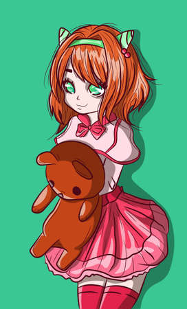 Kawaii redhead anime child with a teddy bear on her arms. Manga school girl and her plush animal, special relationship, conceptual drawing about childhood and imagination.