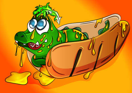 Cute crocodile cub sitting on a hot dog full of mustard, salad and tomatoes eating. Vector, illustration, drawing for food, restaurant advertisement/ poster/ logo for bussiness. Ilustração