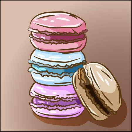 Dolce delizioso dessert francese. Quattro macarons colorati, biscotti di pasta di zucchero al gusto di uva fragola e mirtillo al cioccolato. Ricetta dei biscotti gourmet. Tortine panini pastelli al forno
