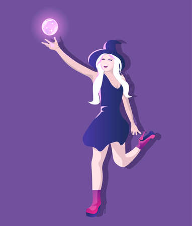 Young and attractive witch with hat and high heels holding a magic glowing globe fly. Woman with long blonde hair and short dress Vectores