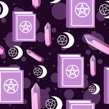 Amethyst, stars and moon pagan symbol and spell book seamless pattern. Repetitive background with precious stones, spells and wicca symbols.