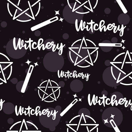 Witchery seamless pattern with magic wands and satanic pagan pentagram. 일러스트