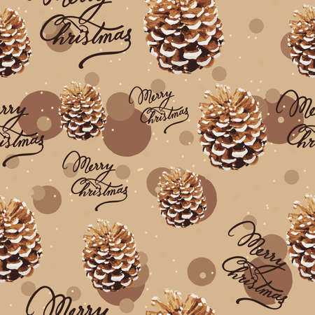 Pine tree cone and merry christmas text, seamless pattern. Repetitive earth toned background for winter holidays. Ilustração
