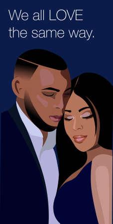 Affiche d'un couple afro-américain noir s'embrassant. Mari en costume de bureau et femme vêtue d'une robe de soirée bleue.