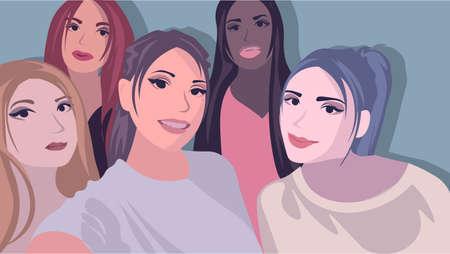 Illustration plate avec cinq filles prenant un selfie. Métis et diversité culturelle, concept d'amitié.