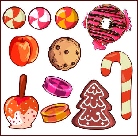 Design elements pack with different type of sweets and desserts. Candies, cookies, fruits and donuts elements pack. Ilustracja