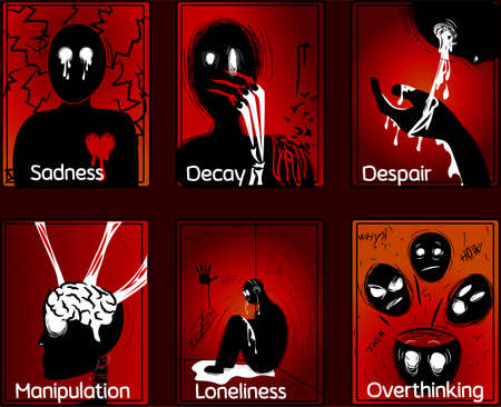 Six horror tarot cards about human emotions and sorrow. Occult and dark illustrations, elements pack. Vector Illustratie