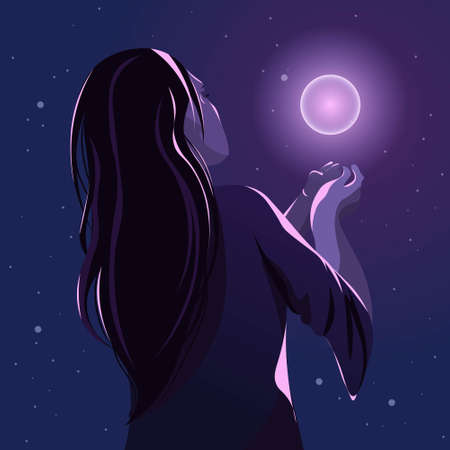 Back side of a witch in the darkness summoning a spirit. New age concept of the occult, woman holding a magic orb.