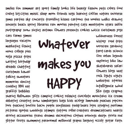 Conceptual text art about happiness. Ilustração
