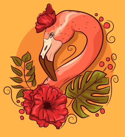 Flamingo head with poppies and monstera leaves. Tropical bird with a floral background and palm leaves.