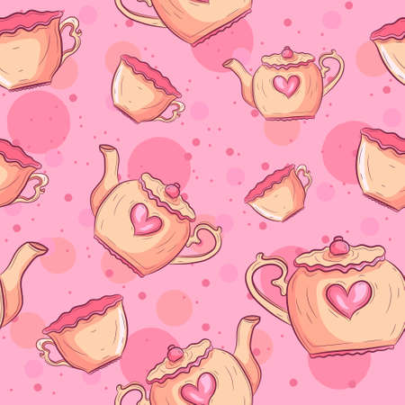 Tea mugs and teapot seamless pattern. Pink baby background with pottery and hearts. Çizim
