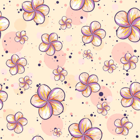 Floral seamless pattern in yellow and pink pastel colors. Repetitive summer background with plumeria flowers. 向量圖像