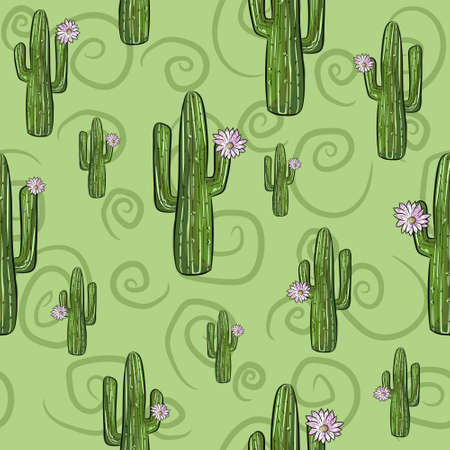 Green seamless pattern with saguaro cactuses in bloom. Repetitive background with desert plants.