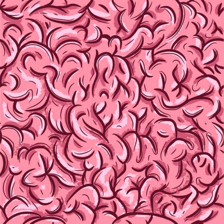 Pink brain wallpaper. Medicine and science repetitive background. Seamless pattern with the human neural system.