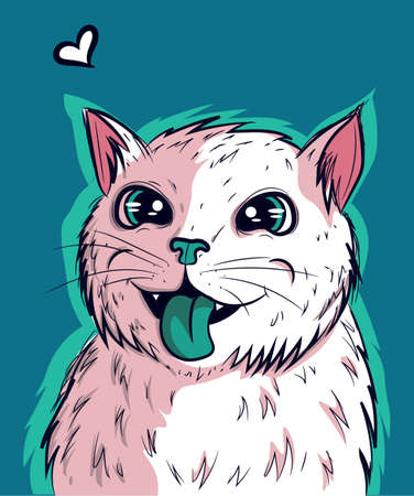 Vector of white kitty vibing with its green tongue out. Cat with big anime eyes and psychedelic look. Illustration