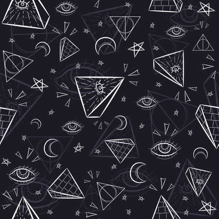 Seamless pattern with illuminati and occult symbols. Repetitive background with pyramids, triangles, the eye of God and celestial objects. Vettoriali