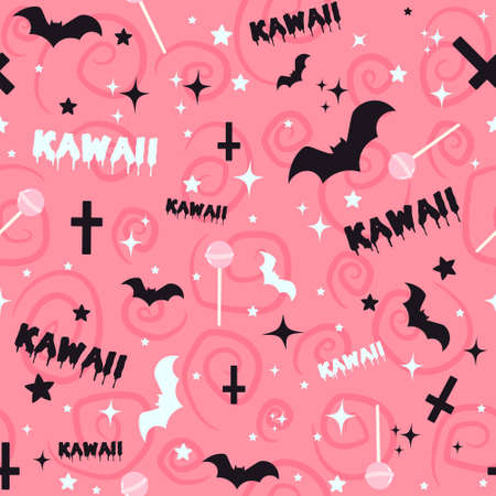 Pastel goth background with bats, lollipops, crosses and stars. Seamless kawaii pink pattern with spooky Halloween elements and creepy doodles.