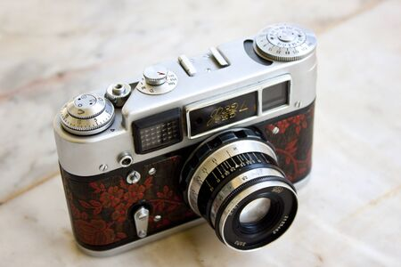 are fed: LAMPANG, THAILAND - FEBRUARY 13: A Fed 4 vintage Russian film camera on February 13, 2012 in Lampang, Thailand. Film photography has become increasingly popular in Thailand in recent years.