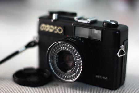 are fed: BANGKOK, THAILAND - JANUARY 9: A Fed 50 vintage Russian film camera on January 9, 2013 in Bangkok, Thailand. Film photography has become increasingly popular in Thailand in recent years.