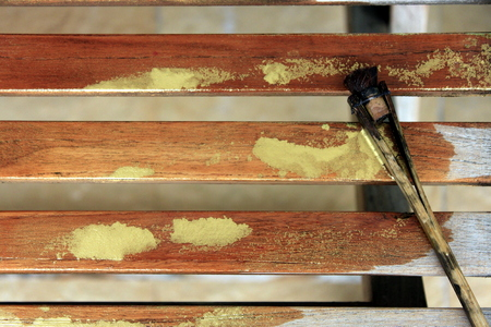 wood block: A brush used in traditional japanese wood block printing is washed out and left to dry. Stock Photo