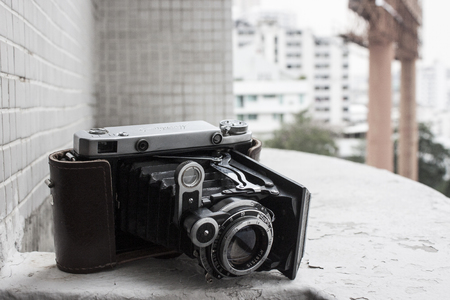 medium size: BANGKOK, THAILAND - FEBRUARY 16: A Moskva V vintage Russian film camera on February 16, 2013 in Bangkok, Thailand. Film photography has become increasingly popular in Thailand in recent years.