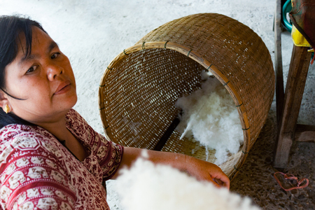 laotian: LUANG PRABANG, LAOS - OCTOBER 10: An unidentified woman shows the process of spinning silk thread from boiled cocoons on October 10, 2014 in Luang Prabang, Laos. Editorial
