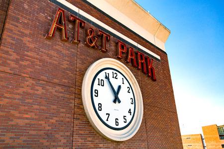 ballpark: SAN FRANCISCO, CALIFORNIA - SEPTEMBER 20: Clock outside AT&T Park in San Francisco, California on September 20, 2015.