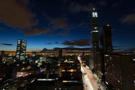 A long exposure of the BD Bacata Buildings under construction during the blue hour in Bogota, Colombia.