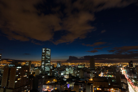 A long exposure of the Candelaria Neighborhood just after sunset in Bogota, Colombia.