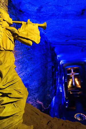 Angel and a Cross at the Zipaquira Salt Cathedral in the town of Zipaquira in Cundinamarca, Colombia. Editorial