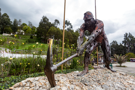 A large miner sculpture outside the Zipaquira Salt Cathedral in Zipaquira, Colombia.