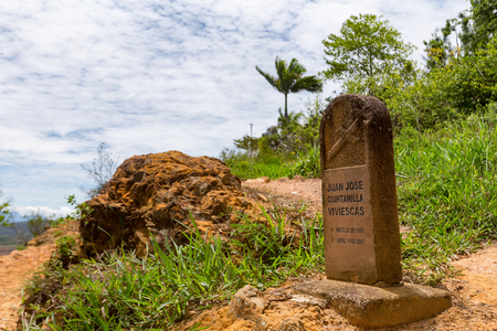 BARICHARA, COLOMBIA - MAY 5: A gravestone overlooks the Rio Suarez Canyon on the edge of Barichara, Colombia, on May 5, 2016. Editorial