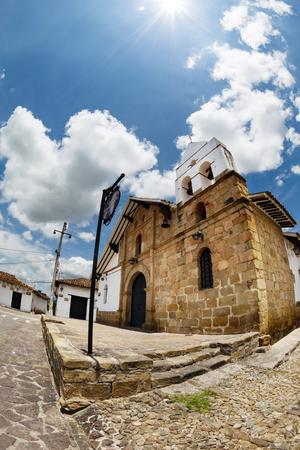 A fisheye shot of a chapel in Giron, Colimbia. Stock Photo