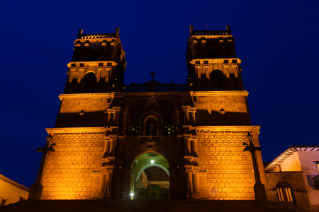The Cathedral of Immaculate Conception during the blue hour in Barichara, Colombia. Stock Photo