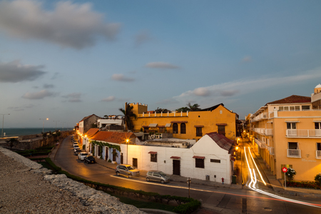 center hall colonial: Long Exposure view of Cartagenas old city just after sunset.