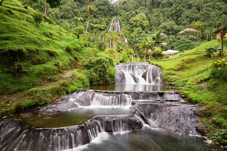 Beautiful long exposure view of the waterfall near the Santa Rosa Thermal Spa in Santa Rosa de Cabal in Colombia.