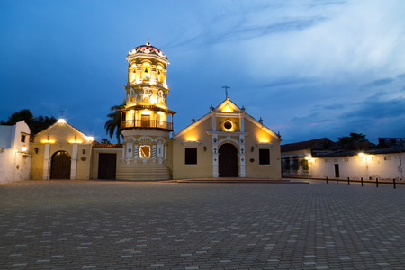 The beginning of the blue hour at the Santa Barbara Church in Mompox, Colombia.