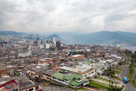 nevado: Late afternoon view of Manizales, Colombia. Stock Photo