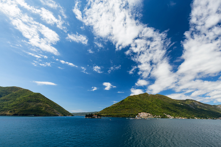 Dramatic view of the Our Lady of the Rock and the Sveti Dordje churches on neighboring islands in the Bay of Kotor, Montenegro. Stock Photo