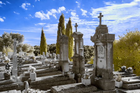 Infrared photo of a Traditional cemetery in Cavtat, Croatia. Stock Photo
